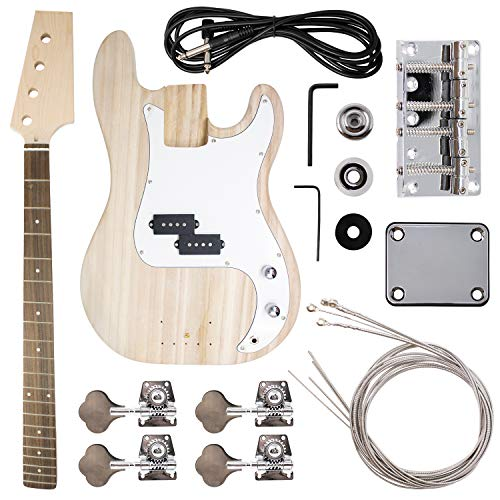 DIY Bass Guitar Kit - Build Your Own Electric Bass With Phoenix Tree Wood Body, Pickguard, Electronics, Maple Guitar Neck & Rosewood Fretboard - DIY Guitar Kit Bass Guitar Neck & Guitar Body
