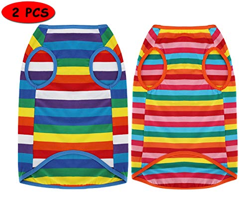 Uvoguepaw Dog Shirts Rainbow Striped Clothes for Small Medium Large Dogs,XS