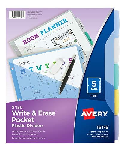 Avery 16176 Write & Erase Big Tab Plastic Dividers w/Slash Pocket, 5-Tab, Letter