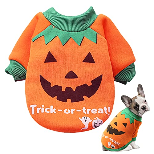 SUNYOK Hundekostüm Halloween Hundekostüm Kürbis Hundemantel für Kleine Hunde Herbst Winter Hundbekleidung Haustier Kostüm Katze Hund Hundepullover für Halloween Hundekleidung