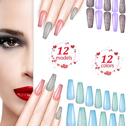 240 Pieces Shimmer Extra Long Press on Nails Glitter Coffin Fake Nails Bling Full Cover False Nail Coffin Nail Tips Artificial False Nail Kits for Women and Girls (Rose Red, Champagne, Silver, White)