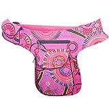 KUNST UND MAGIE Goa Schulter/Bauchtasche Gürteltasche Bauchgurt Hippie Psy, Farbe:Pink