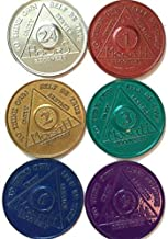 6 AA Tokens Medallions Chips Aluminum Set 1 2 3 6 9 Month & 24 Hour Hours Alcoholics Anonymous Lot Colored