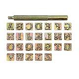 Mogokoyo Juego de Punzones de Letras del Alfabeto Dorado 6.0 mm Herramientas para Hacer Manualidades y Trabajos de Arte Hechos a Mano para Hacer Sellos para tallar en Piel