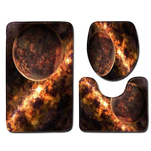 WDDGPZYD WC-Matte Planète Motif Tapis De Bain 3 Pcs Tapis De Toilette Tapis De Toilette Tapis Protecteurs Antidérapants De Salle De Bains Tapis Absorb
