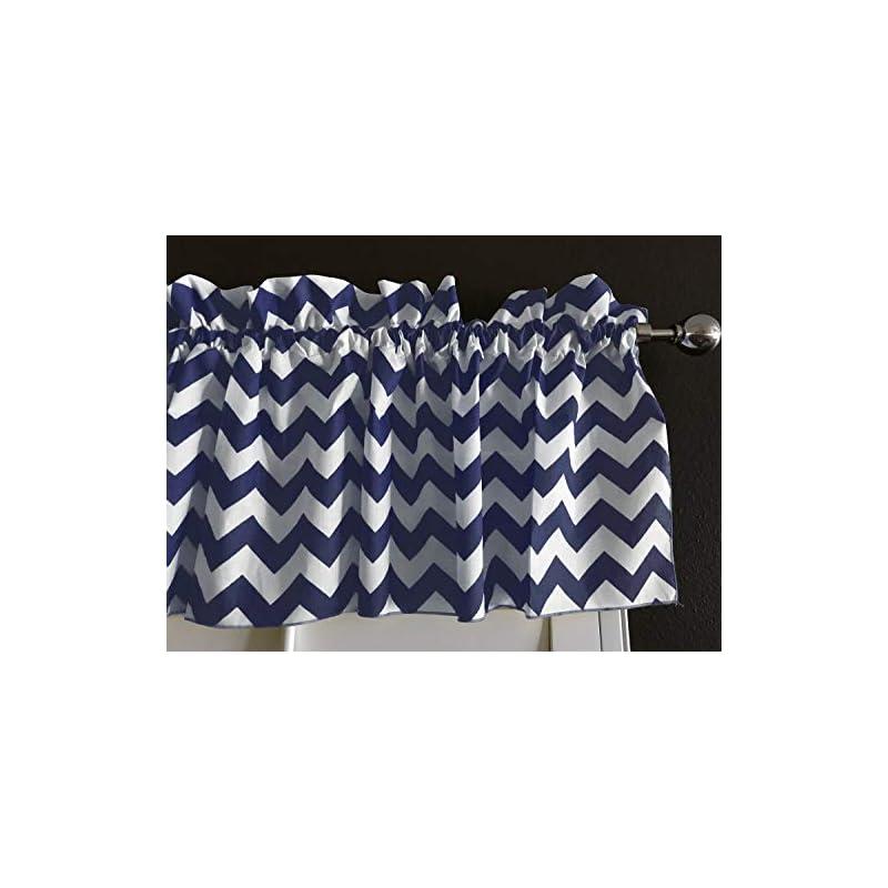 crib bedding and baby bedding zen creative designs premium cotton chevron curtain valance/home decor/window treatment/kitchen/baby nursery/chevron/zig-zag (14 inch x 58 inch, navy)