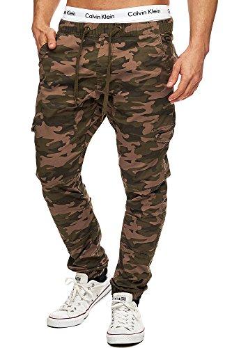 Indicode Herren Levi Cargo Cargo Hose Freizeithose Militär Army Chino Feldhose Outdoorhose Rangerhose Stoffhose Leinenhose, Dired Camouflage, L