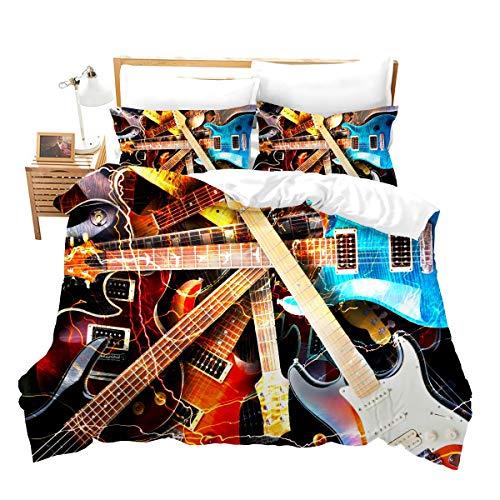 Loussiesd Juego de ropa de cama de guitarra, 2 piezas, para niños, guitarras juveniles, instrumentos musicales, funda de edredón, funda de edredón personalizada, decoración de cama individual, regalo