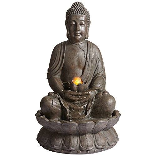 John Timberland Meditating Buddha Asian Zen Outdoor Water Fountain with Light LED 33 1/2' High for Table Yard Garden Patio Deck Home Relaxation