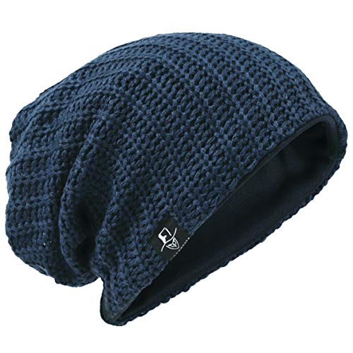 Hombre Gorro de Punto Slouch Beanie Knit Invierno Verano Hat (Acanalado Armada)