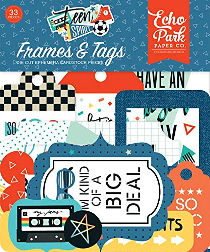 Echo Park Paper Company TSB185025 Teen Spirit Boy Frames & Tags Ephemera, Orange, Teal, Black