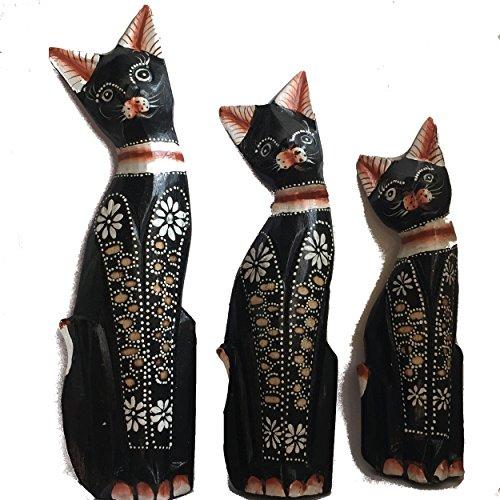 Gran familia de Deluxe–comercio justo mano tallada de madera gatos de Bali, vendido por un mundo es suficiente, generalmente se entrega al siguiente día hábil.