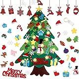 Hanbee Fieltro Árbol de Navidad, DIY Christmas Hanging Tree Set con LED 32 Piezas Adornos Árbol de Navidad para niños Decoración de la Pared de la...