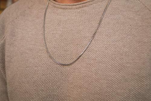 Made by Nami Halskette Silber aus Edel-Stahl - 60-cm Glieder-Halskette - Feine Silber-Kette Glieder-Kette - Handmade Herren-Kette - Panzer-Kette - Geschenk für Ihn - Herren-Schmuck (Silber 2mm)