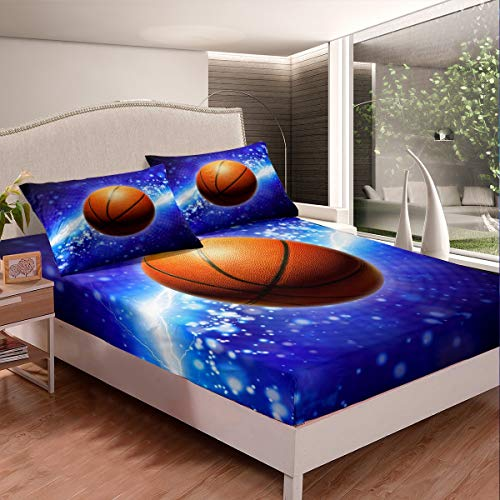 Juego de sábanas de baloncesto Galaxy para niños y adolescentes, juego de cama con diseño de baloncesto 3D, sábana bajera, funda de cama ligera, 3 unidades, tamaño doble