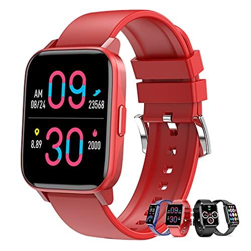 Smartwatch 1.69' Táctil Completa Reloj Inteligente Mujer Hombre, Pulsera Actividad Inteligente Con Podómetro, Pulsómetro, Monitor De Sueño, Reloj Deportivo Impermeable IP67 Para Android Y Ios,Rojo