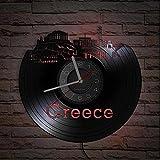 Reloj de Pared con Disco de Vinilo reutilizado del Partenón del Horizonte de Atenas Grecia Reloj de decoración del hogar Griego Arte de Santorini Reloj de Recuerdo Europeo