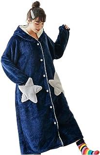 【mon luxe】 着る毛布 大きい あったかい フード 部屋着 洗濯 レディース ふわふわ 軽量 (ネイビー星, XL)