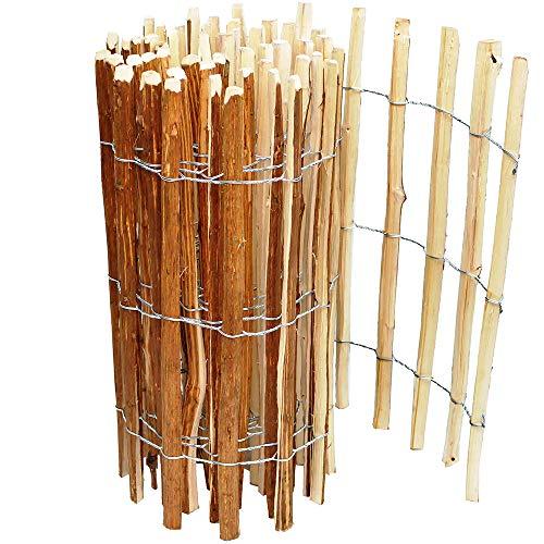 Staketenzaun Holzzaun 120cm Höhe, Teichumrandung Haselnuss, Zaun 5m Länge, Gartenzaun, Lattenabstand ca. 7-8cm, Staketen witterungsbeständig