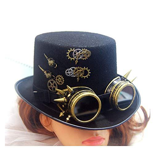RedAlphabet Steampunk Top Hat Vêtements for Hommes et Femmes Lunettes Magic Hat Métal Gear Cap Haute Performance Hat Cosplay Hat Taille 57CM (Color : Black, Size : 57cm)
