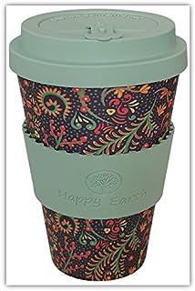 FLORIDITTA por Happy Earth (Taza de café ecológica reutilizable 450 ml, hecha con fibra de bambú natural orgánica, se puede utilizar como taza de viaje o taza de café casera)