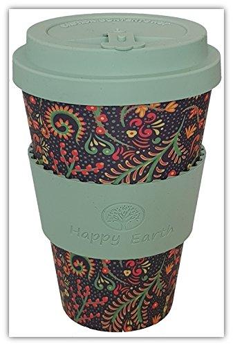 Happy Earth FLORIDITTA (Wiederverwendbare Öko-Kaffeetasse 450ml, mit Bio-Bambus Naturfaser, kann als Reisebecher oder Kaffee-Tasse zu Hause verwendet Werden)