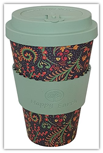 FLORIDITTA by Happy Earth (Reusable Eco-Friendly Coffee Cup 450ml, Made with Organic Natural Bamboo Fibre, can be Used as a Travel Mug or Home Coffee Mug)