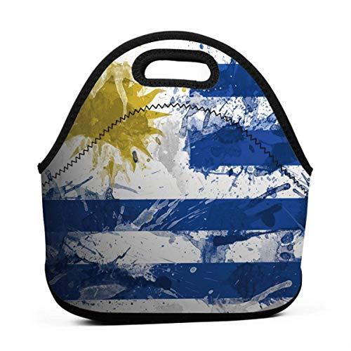 Bandera de Uruguay Pintura Neopreno reutilizable Resistente al agua Bolsa de almuerzo Almuerzo Enfriador Bolsas de contenedores gourmet Picnic Bolsa de bolso portátil al aire libre