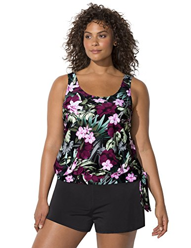 Swimsuits for All Women's Plus Size Tropical Floral Blouson Tankini Set with Short 22 Wine Pink Flower