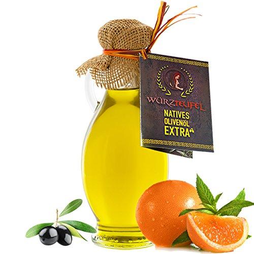 Orangenöl, Orangen - Öl aus Nativem, Extra Vergin Olivenöl und ätherischem Orangenöl aus Florida, Ungefiltert. Kaltgepresst. Traditionelle Herstellung im Familienbetrieb, Griechenland. AMPHORE IRGIZIA - Flasche 250ml.