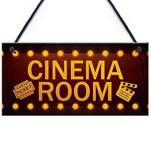 RED OCEAN Cinema Room Home Theatre Gift For Mum Dad Man Cave Den Family Room Wall Plaque Gift