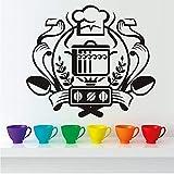 & Amp; Quot; Chef Badge Etiqueta De La Pared Decoración Para El Hogar Mural Art Decal Caldero En La Estufa De Gas Pegatinas De Pared Vinilo Cocina Comedor Pegatinas 50 * 44Cm