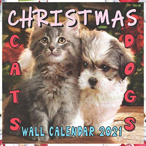 CHRISTMAS CATS DOGS WALL CALENDAR 2021: 16 MONTHS 8.5X8.5 INCH COLORFUL & GLOSSY