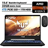 2020 ASUS TUF 15.6 Inch 120Hz FHD 1080P Gaming Laptop, AMD Ryzen 5 3550H up to 3.7GHz, RTX 2060 6GB, 32GB RAM, 4TB PCIE SSD (Boot) + 1TB HDD, Backlit KB, Win10 + NexiGo Wireless Mouse Bundle