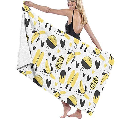 dingjiakemao Turkse handdoek ijs en banaan patroon bad handdoeken natuurlijke milieuvriendelijke 80X130Cm zacht lichtgewicht absorberend voor bad zwemmen Yoga