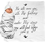 Muslin Swaddle & Bonus Baby Hat with Scripture Quote (Psalm 91) - 100% Organic Unbleached Cotton - Swaddle/Blanket is a Unique Shower & Baptism Gift - Christening, Child of God, Newborn Bible, Bird