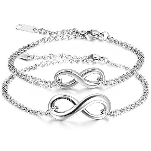 JewelryWe Pulseras de Parejas Pulsera de Infinito Infinity Acero Inoxidable de Color Plata, 2 Piezas Pulseras de Amor Infinito, Buen San Valentin