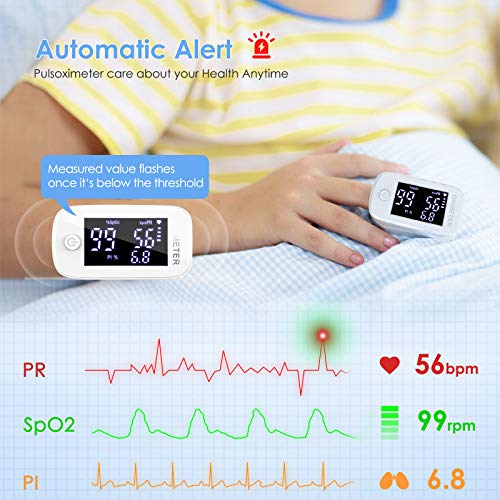51uWIEZy3AL - Oxímetro de dedo profesional KKmier Saturometer Oxímetro de pulso con pantalla LED Medición portátil de SpO2 PR PI para adultos Niños de edad avanzada (baterías y cable)
