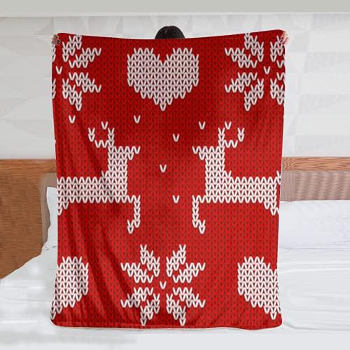 Manta de Felpa de Franela Ultra Suave Red Knitted Deers and Stars Sweater in Norwegian Style Knitted Scandinavian Ornament vectorDormitorio Sala de Estar Sofá Manta cálida 80*60inch