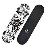 PHSDA Skateboard 28' x 8' Complete PRO Skateboard Deck, Double Kick 9 Layer Canadian Maple Wood Adult Tricks Skate Board for Beginner, Birthday Gift for Adult Kids Skateboard (White)