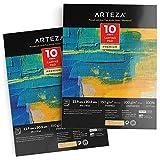 Arteza Bloc de lienzos para pintar, (22,8 x 30,4 cm), juego de 2 x 10 hojas cada uno, 100% algodón, imprimados con gesso, bloc encolado de lienzos para acrílico y óleo, ideal para técnicas mixtas