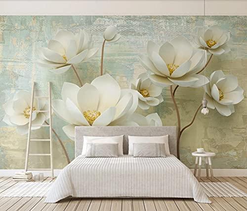 Papel tapiz mural Papel tapiz de flores en relieve mural de lujo gran foto impresa papeles de pared decoración del hogar Papel De Parede para sala de estar personalizado 400(W) X280(H) Cm