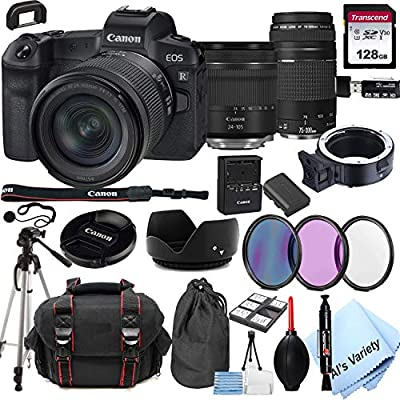 Canon EOS R Mirrorless Digital Camera with 24-105mm f/4-7.1 Lens Bundle + 75-300mm F/4-5.6 III Lens + 128GB Memory + Case + Filters + Tripod (26pc Bundle) from Al's Variety-Canon int.