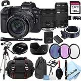 Canon EOS R Mirrorless Digital Camera with 24-105mm f/4-7.1 Lens Bundle + 75-300mm F/4-5.6 III Lens + 128GB Memory + Case + Filters + Tripod (26pc Bundle)