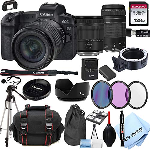 Canon EOS R Mirrorless Digital Camera with 24-105mm f/4-7.1 Lens Bundle + 75-300mm F/4-5.6 III Lens + 128GB Memory + Case + Filters + Tripod (26pc Bundle)