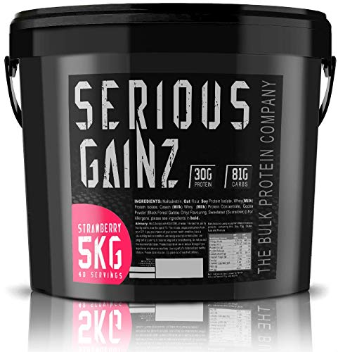 The Bulk Protein Company - Serious Gainz – Mass Gainer Protein Powder – Strawberry 5kg