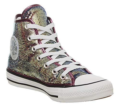 Converse Chuck Taylor All Star MINISEQUINS HI Sneaker Femmes Rose/Silbern - 38 - Sneaker High