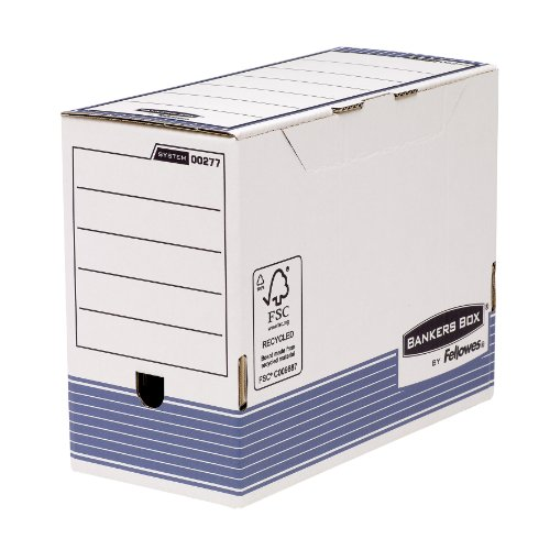 Fellowes 0027701 Boite d'Archives Banker Box System A4 Montage Automatique - Dos de 15cm Bleu (Lot de 10)