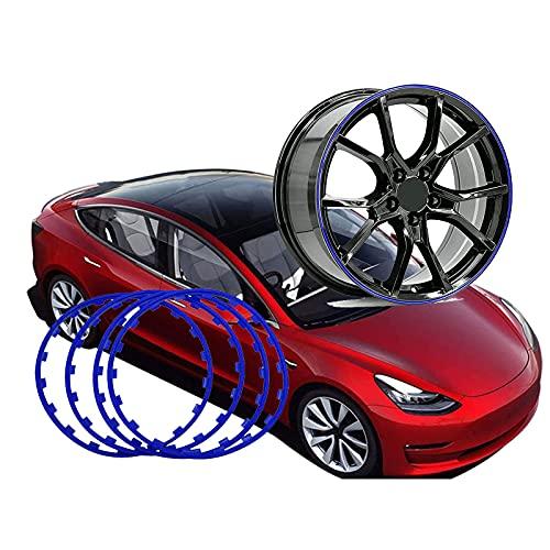 Protectores De Llantas De Coche, para Tesla Model 3, Protectores De Llantas De AleacióN/Protector De NeumáTicos, Anillo De Borde De Rueda De 16-20 Pulgadas, (Juego De 4),Blue-17inch