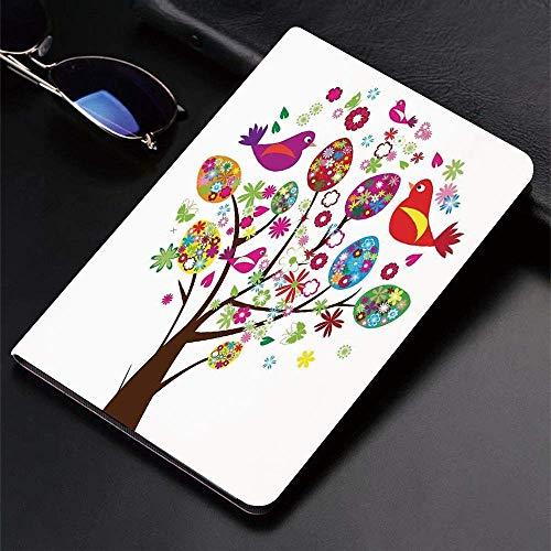 Custodia per iPad (24.638, modello 2018/2017, 6a / 5a generazione) Smart Cover ultra sottile e leggera, decoro uccelli in volo, albero di Pasqua decorato con uova floreali Love Birds Butterfli, Smart